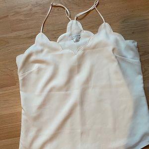 Jcrew white scalloped top